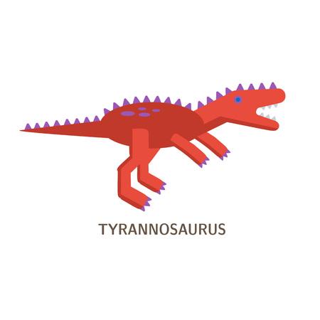 Flat icon of Tyrannosaurus. Pictogram of dinosaur. Vector.