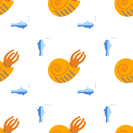 Seamless pattern with Ammonite. Background with ancient shellfish. Vector.