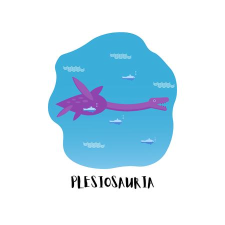 Flat style icon of Plesiosauria. Dinosaur Loch nessie. Vector.