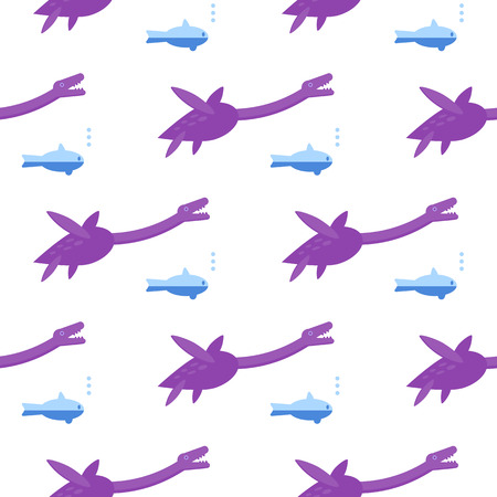 Seamless pattern with Plesiosauria. Background with dinosaur Loch nessie. Vector. Illustration