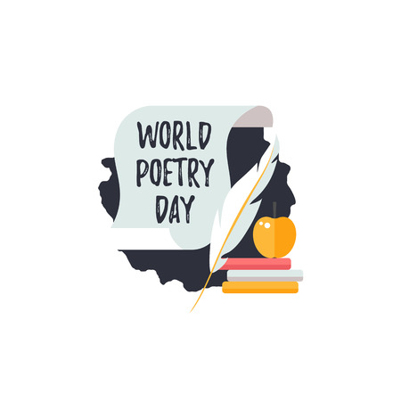 Simple logo for World Poetry Day. Icons of scroll, quill pen and books. Vector.