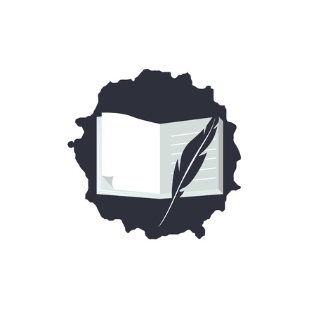 Simple logo for World Poetry Day. Icon with text, quill pen, apple and books. Vector.