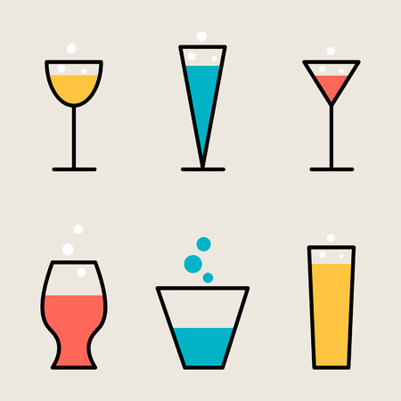 Set of different drink beverage glasses. Line style collection of stemware. Vector.