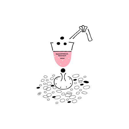 Icon of cocktail hand drawn style. Element for the summer card. Vector.