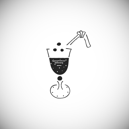 Silhouette icon of cocktail hand drawn style. Element for the summer card. Vector.