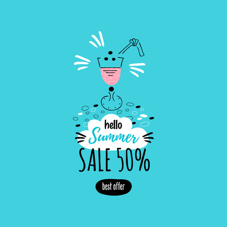 Card with icon of the cocktail. Hello Summer. Sale 50%. Vector.