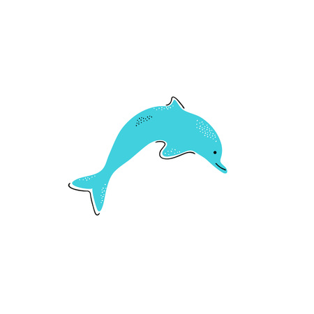 Icon of dolphin hand drawn style, Simple element for the summer cards or different design. Vector.