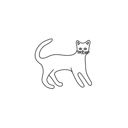 Cute character line style of cat. Simple icon of bengal breed. Stock Illustratie