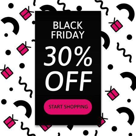Black Friday. Start shopping. Template card. Vector.