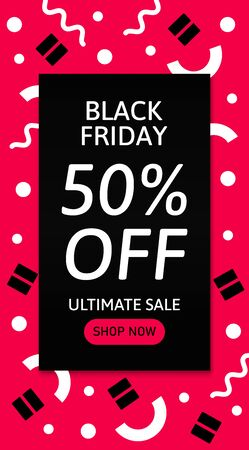 Design template card with text. Black Friday. Illustration