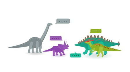 Simple set flat style icons of different dinosaurs. Template card  for print on t-shirt and other design.