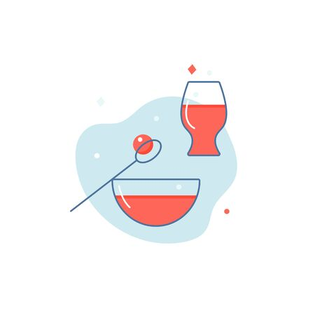 Set line style icons for dinner. Plate with soup, rissole, glass with juice. Simple elements for restaurant and other design. Illustration