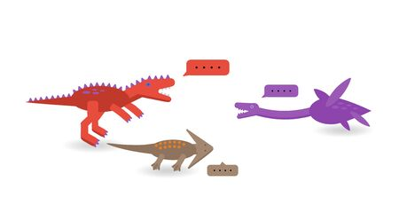 Simple set flat style icons of different dinosaurs and bubble.