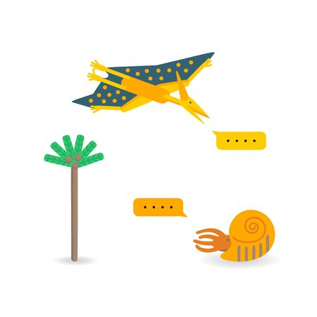 Simple set flat style icons of different dinosaurs. Template card for print on t-shirt and other design. 일러스트
