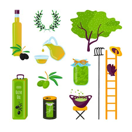 Set cartoon style icons of products of olives. Simple element of bottle of olive oil, jar, can, branch and tree, garden equipment for the festival card and different design.