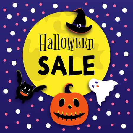 Halloween sale card. Full moon, bat, hat, evil pumpkin, ghosts for party.