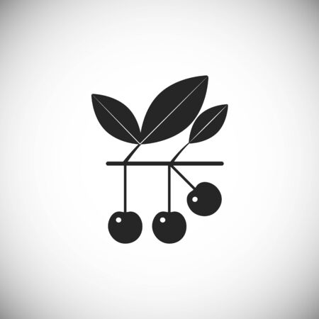 Black icon of cherry on stalk. Simple element fo different design.