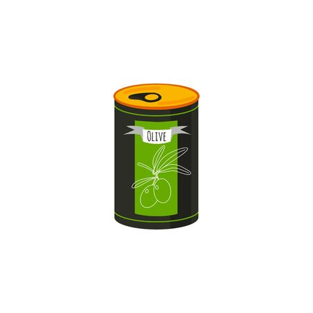 Cartoon style icon of can with olive. Simple element for the festival card and different design.