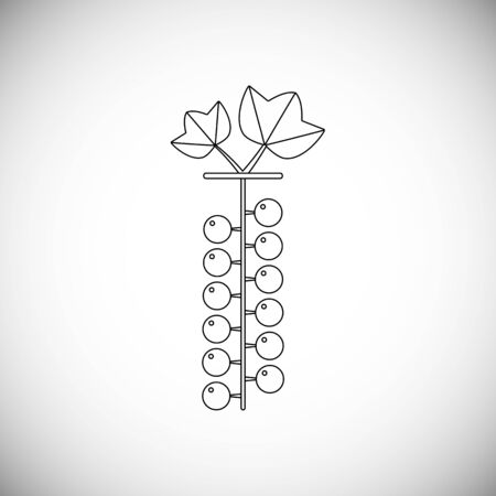 Line icon of currant on stalk. Fresh and healfy nature berry. Ilustracja
