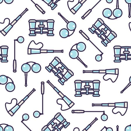 Seamless pattern with telescope, field glass, glasses, monocle. Illustration