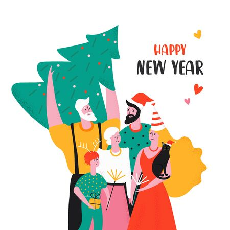 Design template card with family in New Year party. Cute characters celebrate together. Father, mother, son, grandfather, grandmother, Banque d'images - 133115018