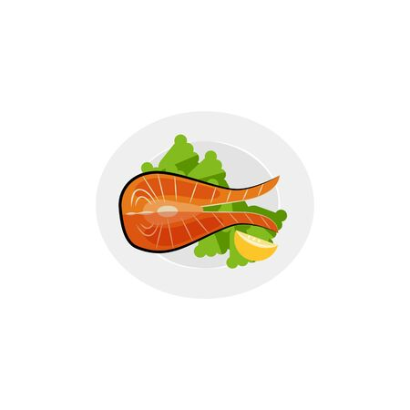Flat icon piece of salmon on plate with salad. Ilustração
