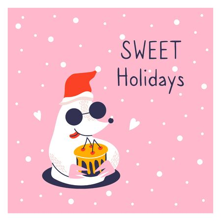 Greeting card with icon of cute mole. New year poster. Funny animal and cake. Sweet holidays.