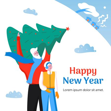 Merry Christmas greeting card with cute family. Man and woman are traveling. Elderly couple.