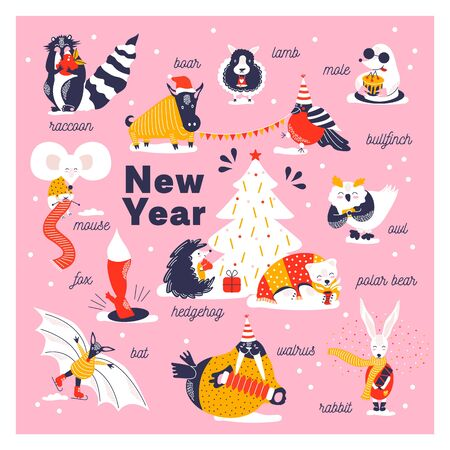 Set icons of cute animals. Funny characters hand drawn style for happy new year card. Raccoon, boar, lamb. mole, bullfinch, owl, bear, rabbit, walrus, hedgehog, bat, fox decorate Christmas tree.