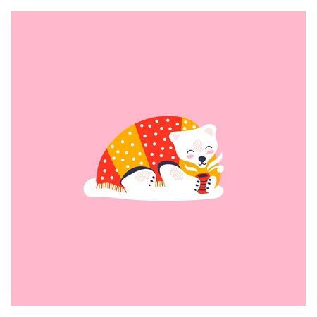 Icon of cute polar bear. Character hand drawn style for happy new year card. Funny animal lies under the covers and drinks tea.