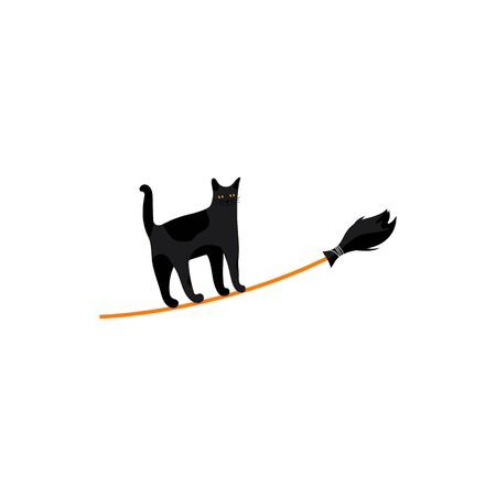 Icon of cute cat on broom. Cute character for traditional christmas holiday Befana and Halloween card.