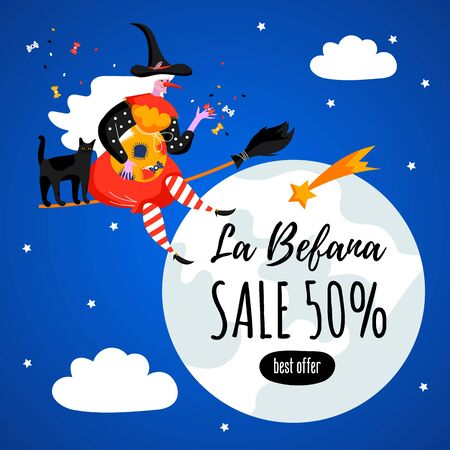 Promotion card with text La Befana. Sale. Best offer. Italian Christmas holiday. Cute witch and cat for Happy Epiphany day. Foto de archivo - 134763569