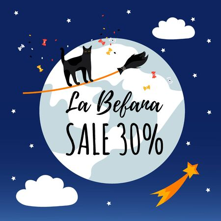 Promotion poster with cat on broom. Sale. Cute character for traditional christmas holiday Befana.