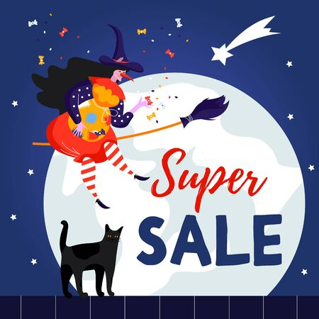 Cute witch and cat for Epiphany day. Happy Befana. Super Sale.