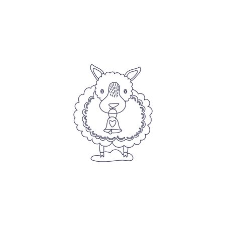 Icon line style of lamb for coloring book. Funny animal ringing a bell.