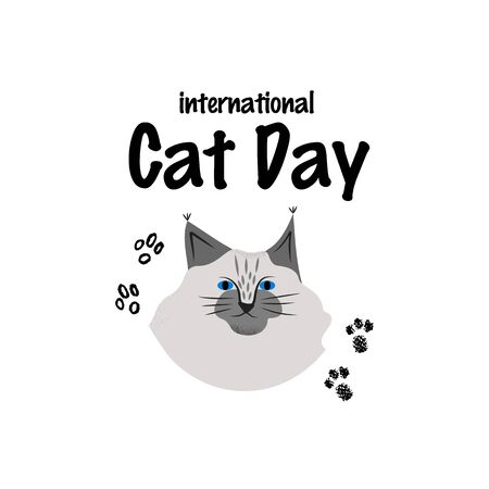 Greeting card with text International Cat Day. Portrait of maine coon breed. Ilustração
