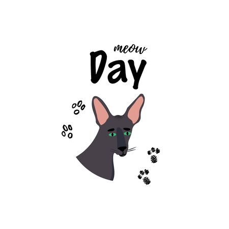 Greeting card with text Meow Day. Portrait of oriental shorthair breed.