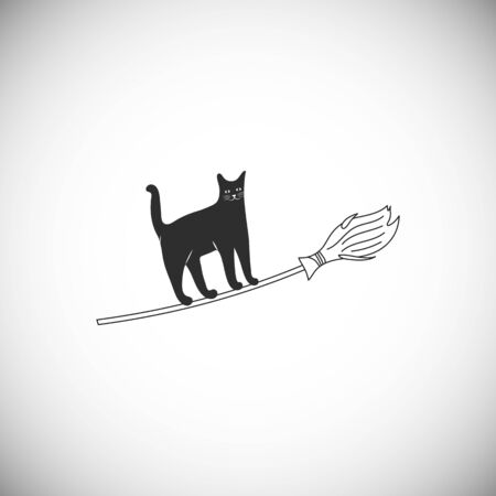 Simple icon of cat on broom. Cute character for traditional christmas holiday Befana and Halloween. Ilustracja
