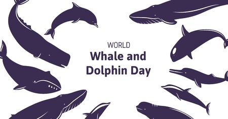 Festive banner with text World Whale and Dolphin Day. Icons of sea animals around.