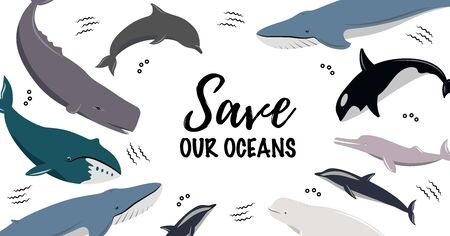 Banner with text Save Our Oceans. Icons of different whales and dolphins. Cute sea animals.