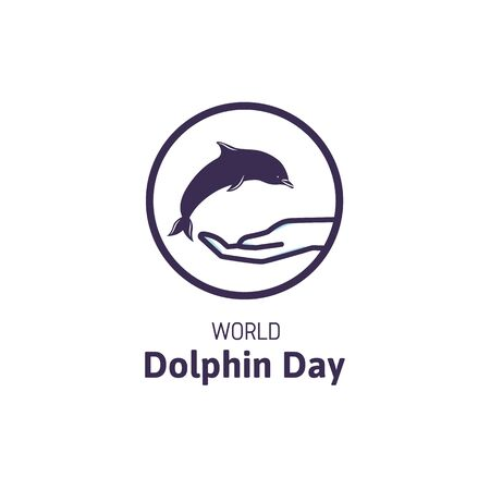 Simple logo with text World Dolphin Day. Suitable for greeting card, poster and banner. Illustration