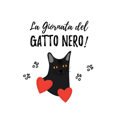 Black Cat Day. Greeting card for a traditional Italian holiday. Cute pet. Portrait of metis breed. Ilustrace