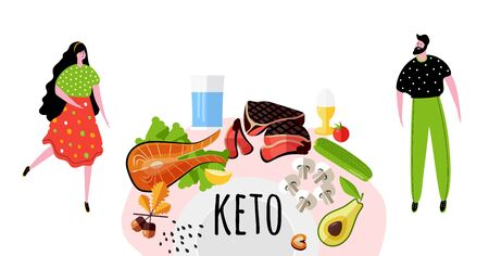 Template design card with cute people and food for Keto diet. Ketogenic diet poster. Man and woman.