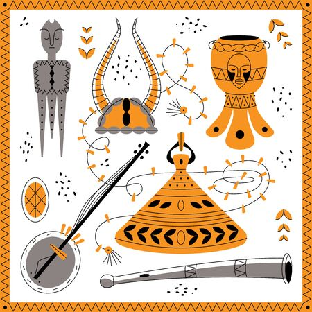 Cute totem, horn, banjo, drum with decoration for different designs.