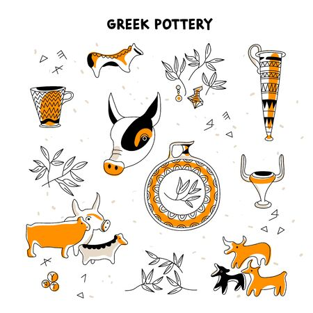 Ancient Greek pottery animal, vase, pots, decoration. Line icon.