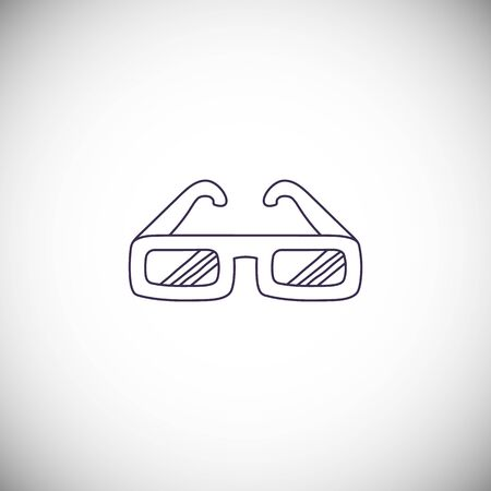 Silhouette 3D glasses icon in line style for different design.