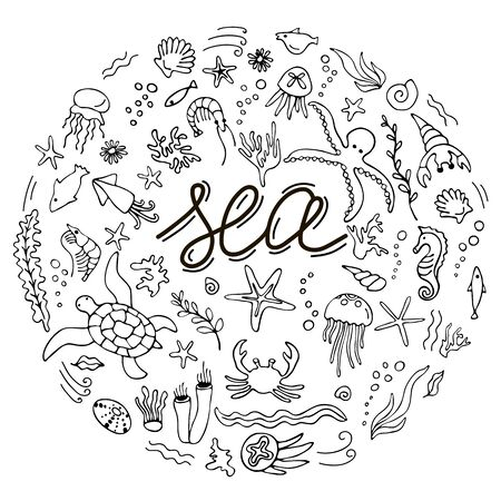 Set with hand drawn sea inhabitants elements.