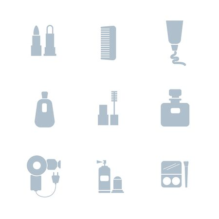 Set of cosmetics icons. Includes symbols such as lipstick, mascara, perfume, deodorant, comb, hair dryer, cream. Beauty concept. Can be used for web, mobile, user interface and infographic design.