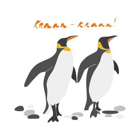 Couple of cute king penguins vector hand drawn illustration. Sea bird with waves and inscription Aaarw isolated clipart. Postcard design element, kids game, book, t-shirt, textile