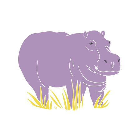 Vector isolated cute hippo standing in the grass. Hand drawn flat illustration. Ilustracja